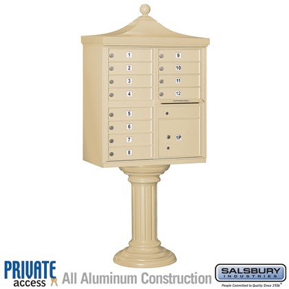 Regency Decorative CBU (Includes CBU, Pedestal, CBU Top, Pedestal Cover - Tall and Master Commercial Locks) - 12 A Size Doors - Type II - Private Access