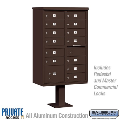 Cluster Box Unit (Includes Pedestal and Master Commercial Locks) - 13 B Size Doors - Type IV - Bronze - Private Access