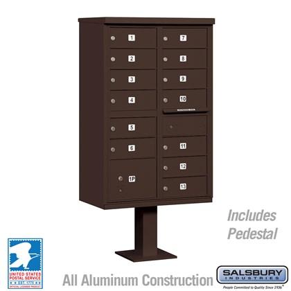 Cluster Box Unit (Includes Pedestal) - 13 B Size Doors - Type IV - Bronze - USPS Access