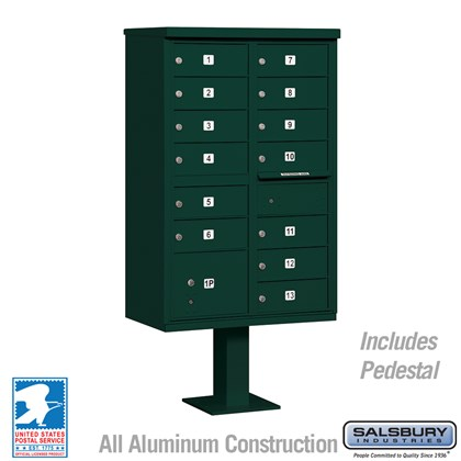 Cluster Box Unit (Includes Pedestal) - 13 B Size Doors - Type IV - Green - USPS Access
