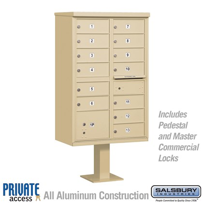 Cluster Box Unit (Includes Pedestal and Master Commercial Locks) - 13 B Size Doors - Type IV - Private Access