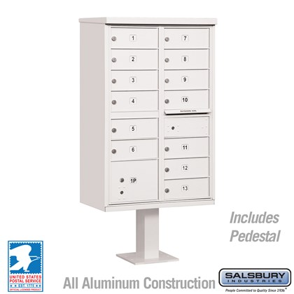 Cluster Box Unit (Includes Pedestal) - 13 B Size Doors - Type IV - White - USPS Access