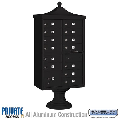 Regency Decorative CBU (Includes CBU, Pedestal, CBU Top, Pedestal Cover - Short and Master Commercial Locks) - 13 B Size Doors - Type IV - Black - Private Access