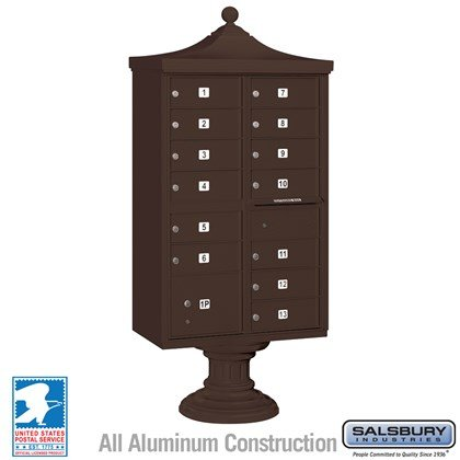 Regency Decorative CBU (Includes CBU, Pedestal, CBU Top and Pedestal Cover - Short) - 13 B Size Doors - Type IV - Bronze - USPS Access