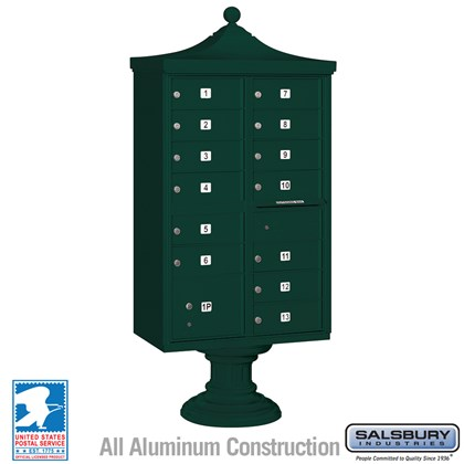 Regency Decorative CBU (Includes CBU, Pedestal, CBU Top and Pedestal Cover - Short) - 13 B Size Doors - Type IV - Green - USPS Access