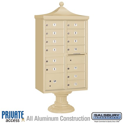 Regency Decorative CBU (Includes CBU, Pedestal, CBU Top, Pedestal Cover - Short and Master Commercial Locks) - 13 B Size Doors - Type IV - Private Access