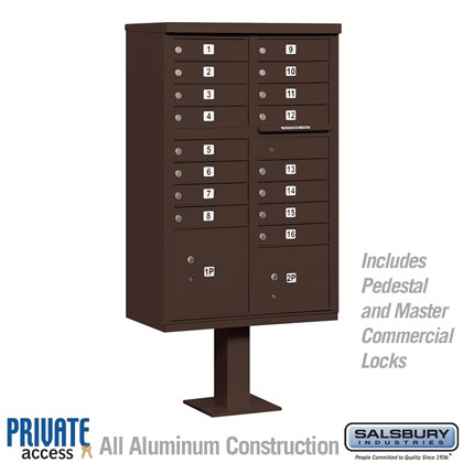 Cluster Box Unit (Includes Pedestal and Master Commercial Locks) - 16 A Size Doors - Type III - Bronze - Private Access