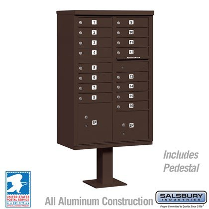 Cluster Box Unit (Includes Pedestal) - 16 A Size Doors - Type III - Bronze - USPS Access