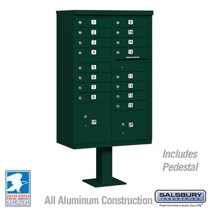 Cluster Box Unit (Includes Pedestal) - 16 A Size Doors - Type III - Green - USPS Access