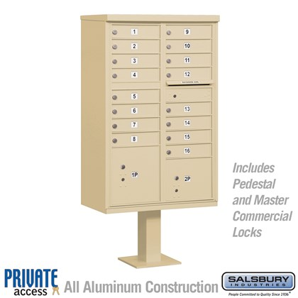 Cluster Box Unit (Includes Pedestal and Master Commercial Locks) - 16 A Size Doors - Type III - Private Access