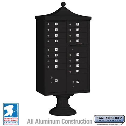 Regency Decorative CBU (Includes CBU, Pedestal, CBU Top and Pedestal Cover - Short) - 16 A Size Doors - Type III - Black - USPS Access