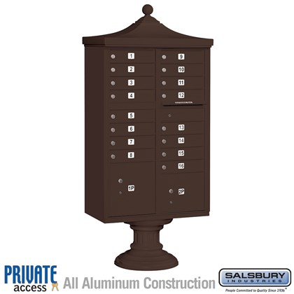 Regency Decorative CBU (Includes CBU, Pedestal, CBU Top, Pedestal Cover - Short and Master Commercial Locks) - 16 A Size Doors - Type III - Bronze - Private Access