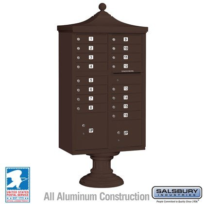 Regency Decorative CBU (Includes CBU, Pedestal, CBU Top and Pedestal Cover - Short) - 16 A Size Doors - Type III - Bronze - USPS Access