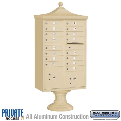 Regency Decorative CBU (Includes CBU, Pedestal, CBU Top, Pedestal Cover - Short and Master Commercial Locks) - 16 A Size Doors - Type III - Private Access