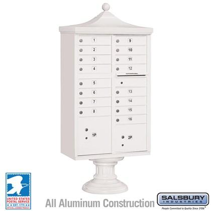 Regency Decorative CBU (Includes CBU, Pedestal, CBU Top and Pedestal Cover - Short) - 16 A Size Doors - Type III - White - USPS Access