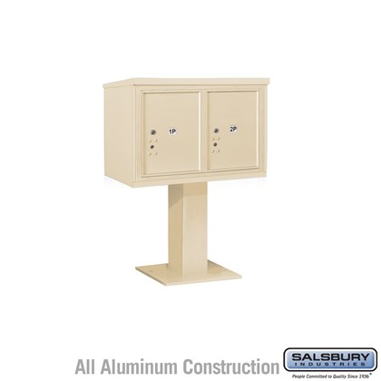 Pedestal Mounted 4C Horizontal Mailbox Unit (Includes 3705D-2P Parcel Locker, 26 Inch High Pedestal and Master Commercial Locks) - 5 Door High Unit (48-1/8 Inches) - Double Column - Stand-Alone Parcel Locker - 2 PL5's - Sandstone
