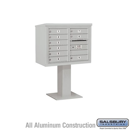 Pedestal Mounted 4C Horizontal Mailbox Unit (Includes 3706D-09 Mailbox, 26 Inch High Pedestal and Master Commercial Lock) - 6 Door High Unit (51-5/8 Inches) - Double Column - 9 MB1 Doors