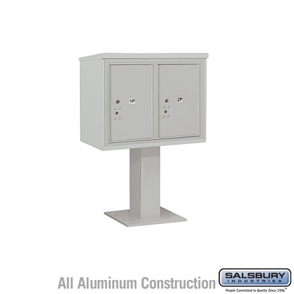Pedestal Mounted 4C Horizontal Mailbox Unit (Includes 3706D-2P Parcel Locker, 26 Inch High Pedestal and Master Commercial Locks) - 6 Door High Unit (51-5/8 Inches) - Double Column - Stand-Alone Parcel Locker - 2 PL6's