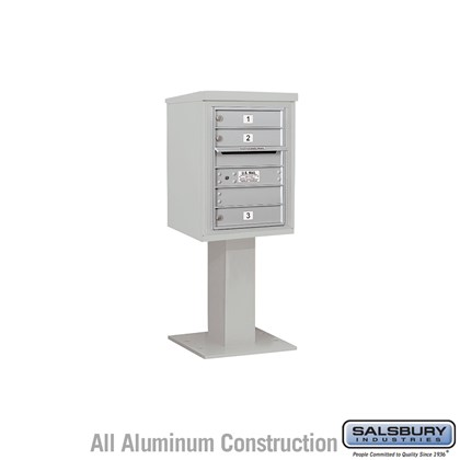 Pedestal Mounted 4C Horizontal Mailbox Unit (Includes 3706S-03 Mailbox, 26 Inch High Unit Pedestal and Master Commercial Locks) - 6 Door High Unit (51-5/8 Inches) - Single Column - 3 MB1 Doors