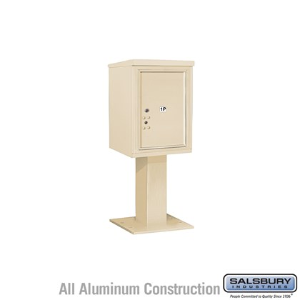 Pedestal Mounted 4C Horizontal Mailbox Unit (Includes 3706S-1P Parcel Locker, 26 Inch High Pedestal and Master Commercial Lock) - 6 Door High Unit (51-5/8 Inches) - Single Column - Stand-Alone Parcel Locker - 1 PL6