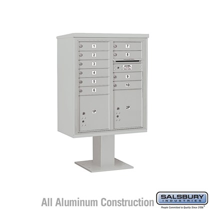 Pedestal Mounted 4C Horizontal Mailbox Unit (Includes 3710D-10 Mailbox, 13 Inch High Pedestal and Master Commercial Locks) - 10 Door High Unit (52-5/8 Inches) - Double Column - 10 MB1 Doors / 1 PL4 and 1 PL4.5
