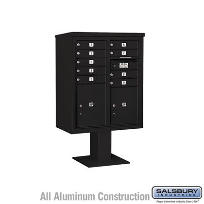 Pedestal Mounted 4C Horizontal Mailbox ADA Height Compliant Unit (Includes 3710DA-09 Mailbox, 13 Inch High Pedestal and Master Commercial Locks) - 10 Door High Unit (52 5/8 Inches) - Double Column - 9 MB1 Doors / 1 PL4.5 and 1 PL5 - Black