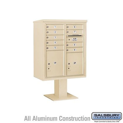 Pedestal Mounted 4C Horizontal Mailbox ADA Height Compliant Unit (Includes 3710DA-09 Mailbox, 13 Inch High Pedestal and Master Commercial Locks) - 10 Door High Unit (52 5/8 Inches) - Double Column - 9 MB1 Doors / 1 PL4.5 and 1 PL5 - Sandstone