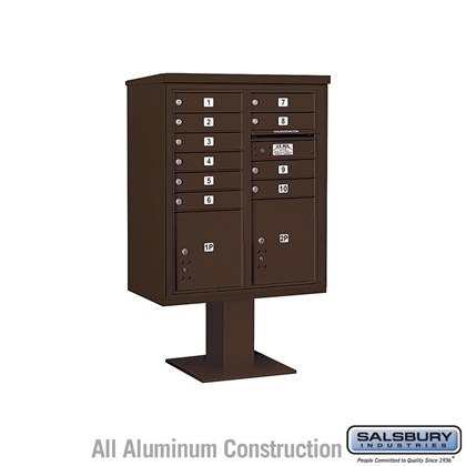 Pedestal Mounted 4C Horizontal Mailbox ADA Height Compliant Unit (Includes 3710DA-10 Mailbox, 13 Inch High Pedestal and Master Commercial Locks) - 10 Door High Unit (52 5/8 Inches) - Double Column - 10 MB1 Doors / 1 PL4 and 1 PL4.5 - Bronze