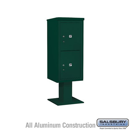 Pedestal Mounted 4C Horizontal Mailbox Unit (Includes 3710S-2P Mailbox, 26 Inch High Pedestal and Master Commercial Locks) - 10 Door High Unit (65-5/8 Inches) - Single Column - Stand-Alone Parcel Locker - 2 PL5's - Green