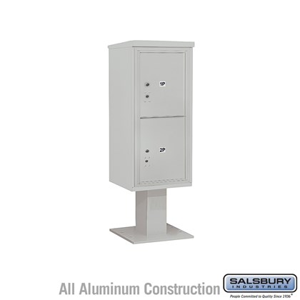 Pedestal Mounted 4C Horizontal Mailbox (Includes 3710S-2P Mailbox, 13 Inch High Pedestal and Master Commercial Locks) - 10 Door High Unit (52-5/8 Inches) - Single Column - Stand-Alone Parcel Locker - 2 PL5's