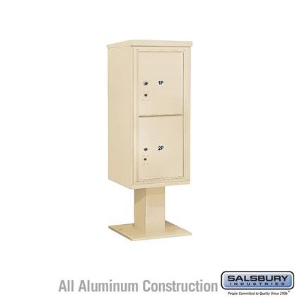 Pedestal Mounted 4C Horizontal Mailbox Unit (Includes 3710S-2P Mailbox, 26 Inch High Pedestal and Master Commercial Locks) - 10 Door High Unit (65-5/8 Inches) - Single Column - Stand-Alone Parcel Locker - 2 PL5's - Sandstone
