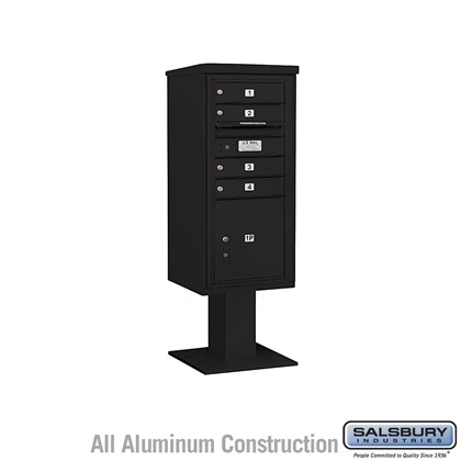 Pedestal Mounted 4C Horizontal Mailbox ADA Height Compliant Unit (Includes 3710SA-04 Mailbox, 13 Inch High Pedestal and Master Commercial Locks) - 10 Door High Unit (52 5/8 Inches) - Single Column - 4 MB1 Doors / 1 PL4.5 - Black