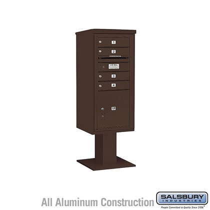 Pedestal Mounted 4C Horizontal Mailbox ADA Height Compliant Unit (Includes 3710SA-04 Mailbox, 13 Inch High Pedestal and Master Commercial Locks) - 10 Door High Unit (52 5/8 Inches) - Single Column - 4 MB1 Doors / 1 PL4.5 - Bronze