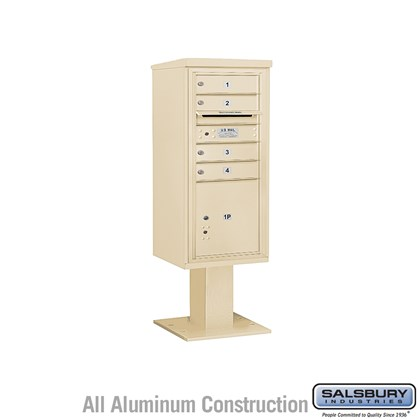 Pedestal Mounted 4C Horizontal Mailbox ADA Height Compliant Unit (Includes 3710SA-04 Mailbox, 13 Inch High Pedestal and Master Commercial Locks) - 10 Door High Unit (52 5/8 Inches) - Single Column - 4 MB1 Doors / 1 PL4.5 -Sandstone