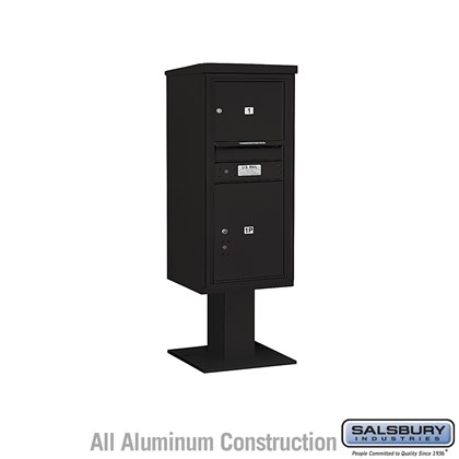 Pedestal Mounted 4C Horizontal Mailbox ADA Height Compliant Unit (Includes 3710S-01 Mailbox, 13 Inch High Pedestal and Master Commercial Locks) - 10 Door High Unit (52 5/8 Inches) - Single Column - 1 MB3 Door / 1 PL5 - Black