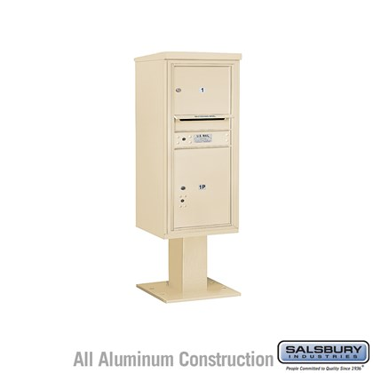 Pedestal Mounted 4C Horizontal Mailbox ADA Height Compliant Unit (Includes 3710S-01 Mailbox, 13 Inch High Pedestal and Master Commercial Locks) - 10 Door High Unit (52 5/8 Inches) - Single Column - 1 MB3 Door / 1 PL5 - Sandstone