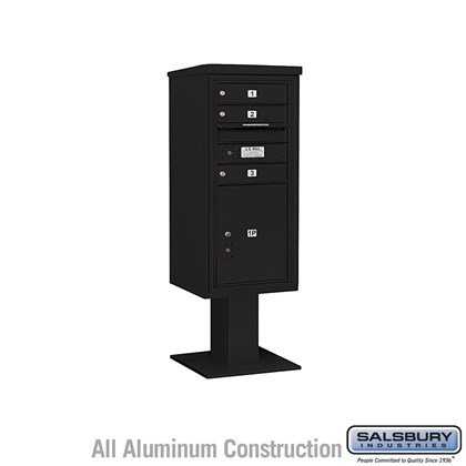 Pedestal Mounted 4C Horizontal Mailbox ADA Height Compliant Unit (Includes 3710S-03 Mailbox, 13 Inch High Pedestal and Master Commercial Locks) - 10 Door High Unit (52 5/8 Inches) - Single Column - 3 MB1 Doors / 1 PL5 - Black