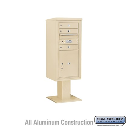 Pedestal Mounted 4C Horizontal Mailbox ADA Height Compliant Unit (Includes 3710S-03 Mailbox, 13 Inch High Pedestal and Master Commercial Locks) - 10 Door High Unit (52 5/8 Inches) - Single Column - 3 MB1 Doors / 1 PL5 - Sandstone