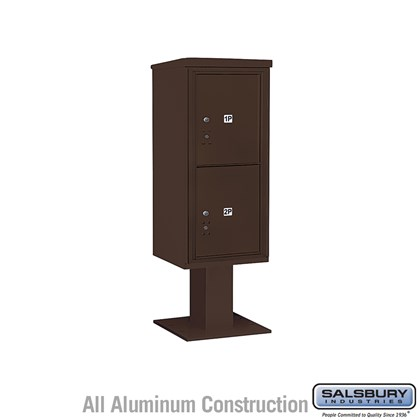Pedestal Mounted 4C Horizontal Mailbox ADA Height Compliant Unit (Includes 3710S-2P Mailbox, 13 Inch High Pedestal and Master Commercial Locks) - 10 Door High Unit (52 5/8 Inches) - Single Column - Stand-Alone Parcel Locker - 2 PL5's - Bronze