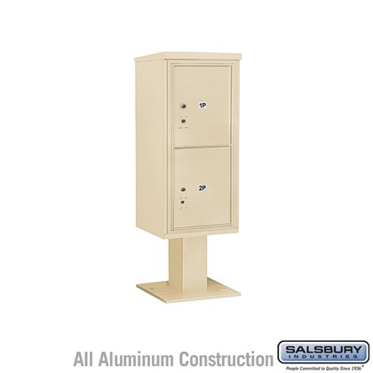 Pedestal Mounted 4C Horizontal Mailbox ADA Height Compliant Unit (Includes 3710S-2P Mailbox, 13 Inch High Pedestal and Master Commercial Locks) - 10 Door High Unit (52 5/8 Inches) - Single Column - Stand-Alone Parcel Locker - 2 PL5's  - Sandstone