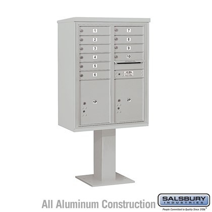 Pedestal Mounted 4C Horizontal Mailbox Unit (Includes 3711D-10 Mailbox, 26 Inch High Pedestal and Master Commercial Locks) - 11 Door High Unit (69-1/8 Inches) - Double Column - 10 MB1 Doors / 2 PL5's