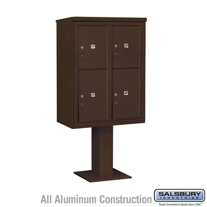 Pedestal Mounted 4C Horizontal Mailbox Unit (Includes 3711D-4P Parcel Locker, 26 Inch High Pedestal and Master Commercial Locks) - 11 Door High Unit (69 1/8 Inches) - Double Column - Stand-Alone Parcel Locker - 3 PL5's and 1 PL6 - Bronze