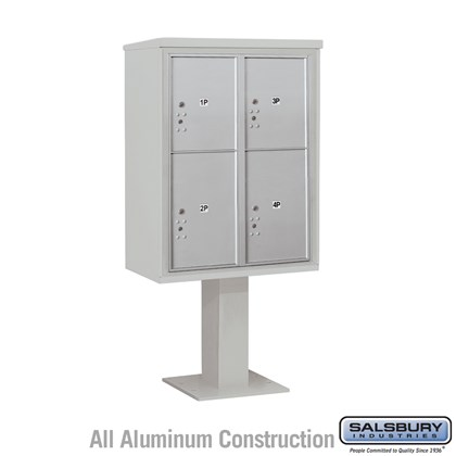 Pedestal Mounted 4C Horizontal Mailbox Unit (Includes 3711D-4P Parcel Locker, 26 Inch High Unit Pedestal and Master Commercial Locks) - 11 Door High Unit (69-1/8 Inches) - Double Column - 2 PL5's and 2 PL6's