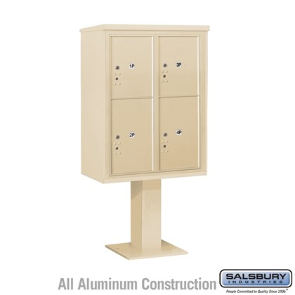 Pedestal Mounted 4C Horizontal Mailbox Unit (Includes 3711D-4P Parcel Locker, 26 Inch High Pedestal and Master Commercial Locks) - 11 Door High Unit (69 1/8 Inches) - Double Column - Stand-Alone Parcel Locker - 3 PL5's and 1 PL6 - Sandstone