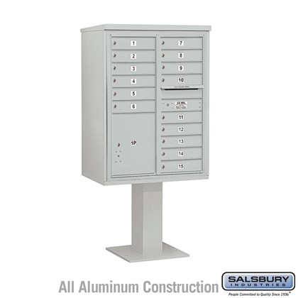 Pedestal Mounted 4C Horizontal Mailbox Unit (Includes 3711D-15 Mailbox, 26 Inch High Pedestal and Master Commercial Locks) - 11 Door High Unit (69-1/8 Inches) - Double Column - 15 MB1 Doors / 1 PL5