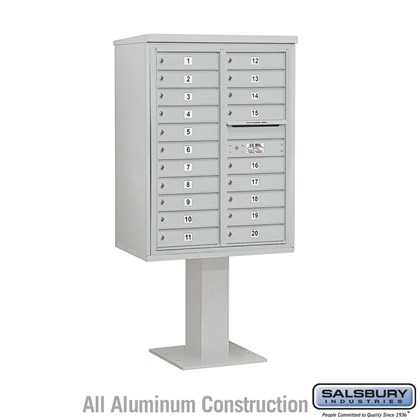 Pedestal Mounted 4C Horizontal Mailbox Unit (Includes 3711D-20 Mailbox, 26 Inch High Pedestal and Master Commercial Lock) - 11 Door High Unit (69-1/8 Inches) - Double Column - 20 MB1 Doors