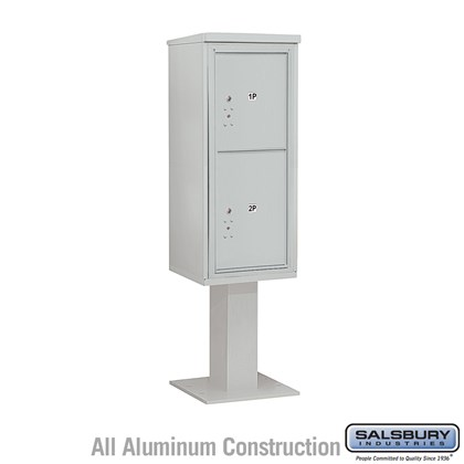 Pedestal Mounted 4C Horizontal Mailbox Unit (Includes 3711S-2P Parcel Locker, 26 Inch High Pedestal and Master Commercial Locks) - 11 Door High Unit (69-1/8 Inches) - Single Column - Stand-Alone Parcel Locker - 1 PL5 and 1 PL6