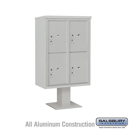 Custom Pedestal Mounted 4C Horizontal Mailbox Unit (Includes 3712D-4P Parcel Locker, 13 Inch High Pedestal and Master Commercial Locks) - 12 Door High Unit (59 3/4 Inches) - Double Column - Stand-Alone Parcel Locker - 4 PL6's