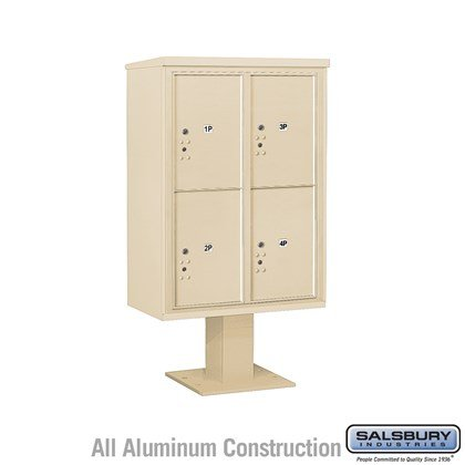 Pedestal Mounted 4C Horizontal Mailbox Unit (Includes 3712D-4P Parcel Locker, 13 Inch High Pedestal and Master Commercial Locks) - 12 Door High Unit (59 3/4 Inches) - Double Column - Stand-Alone Parcel Locker - 4 PL6's