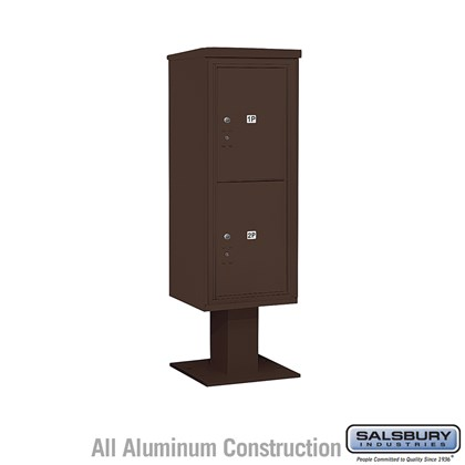Pedestal Mounted 4C Horizontal Mailbox Unit (Includes 3712S-2P Parcel Locker, 13 Inch High Pedestal and Master Commercial Locks) - 12 Door High Unit (59-3/4 Inches) - Single Column - Stand-Alone Parcel Locker - 2 PL6's - Bronze